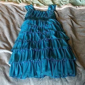 Sparkly blue ruffle dress